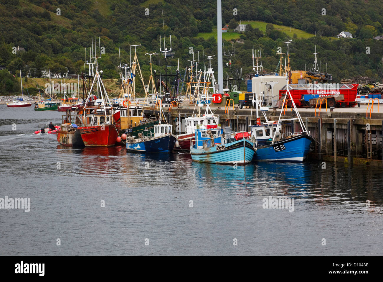 Fishing boats at the quayside, Ullapool harbour, Ross and Crometary, Highlands, Scotland - Stock Image