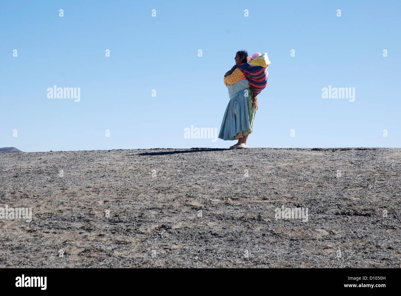Aymara woman in the Cordillera - Stock Image