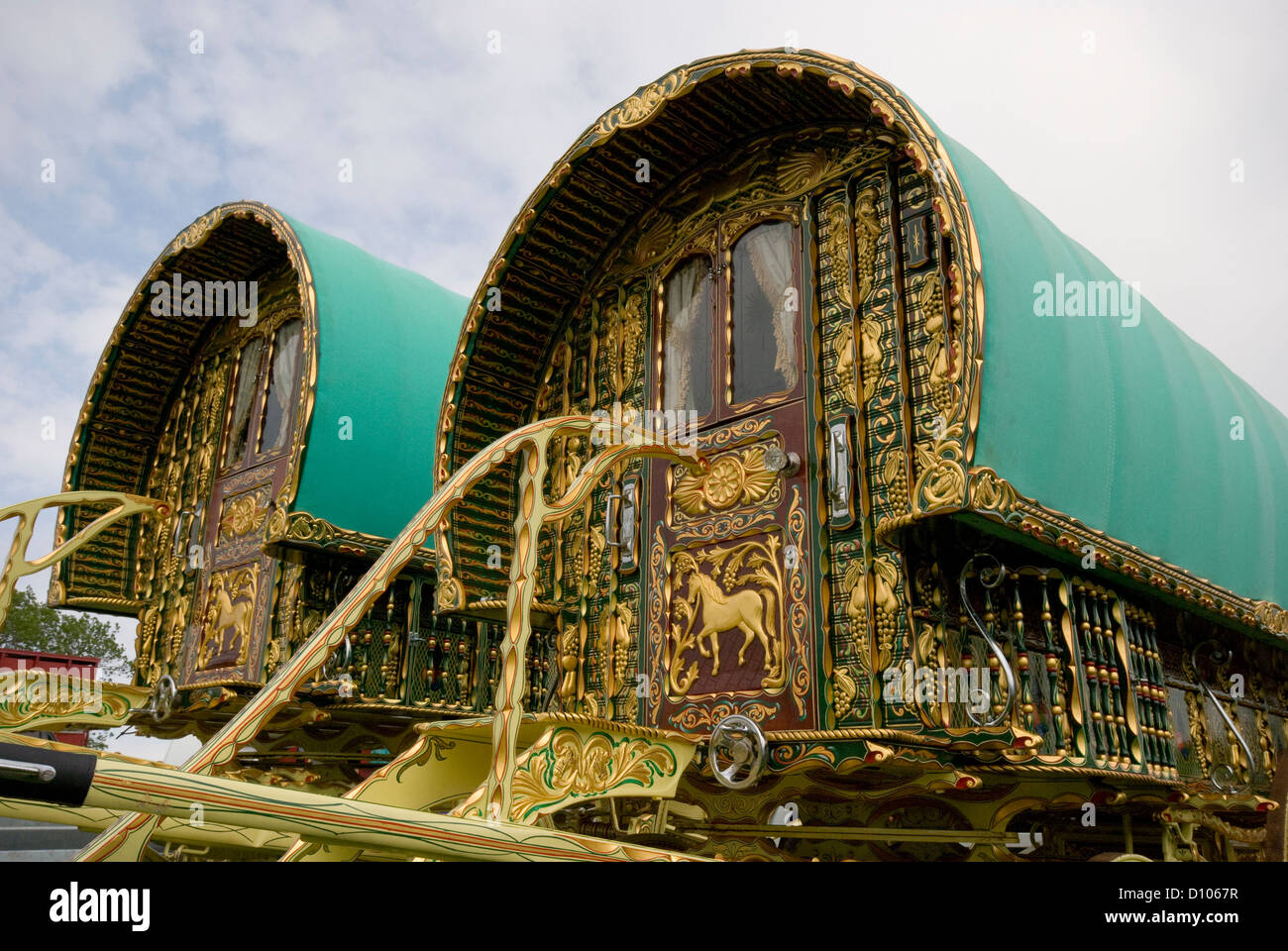 Romany traveller caravans at Appleby horse fair Stock Photo