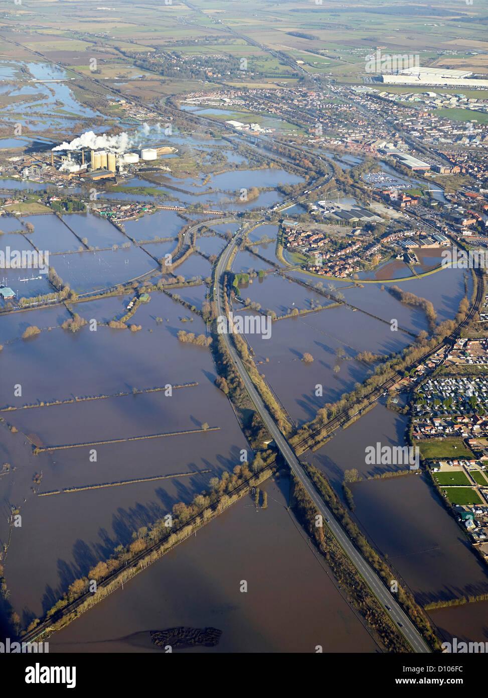 Flooding from the River Trent, Newark, Nottinghamshire, East Midlands, England, UK - Stock Image