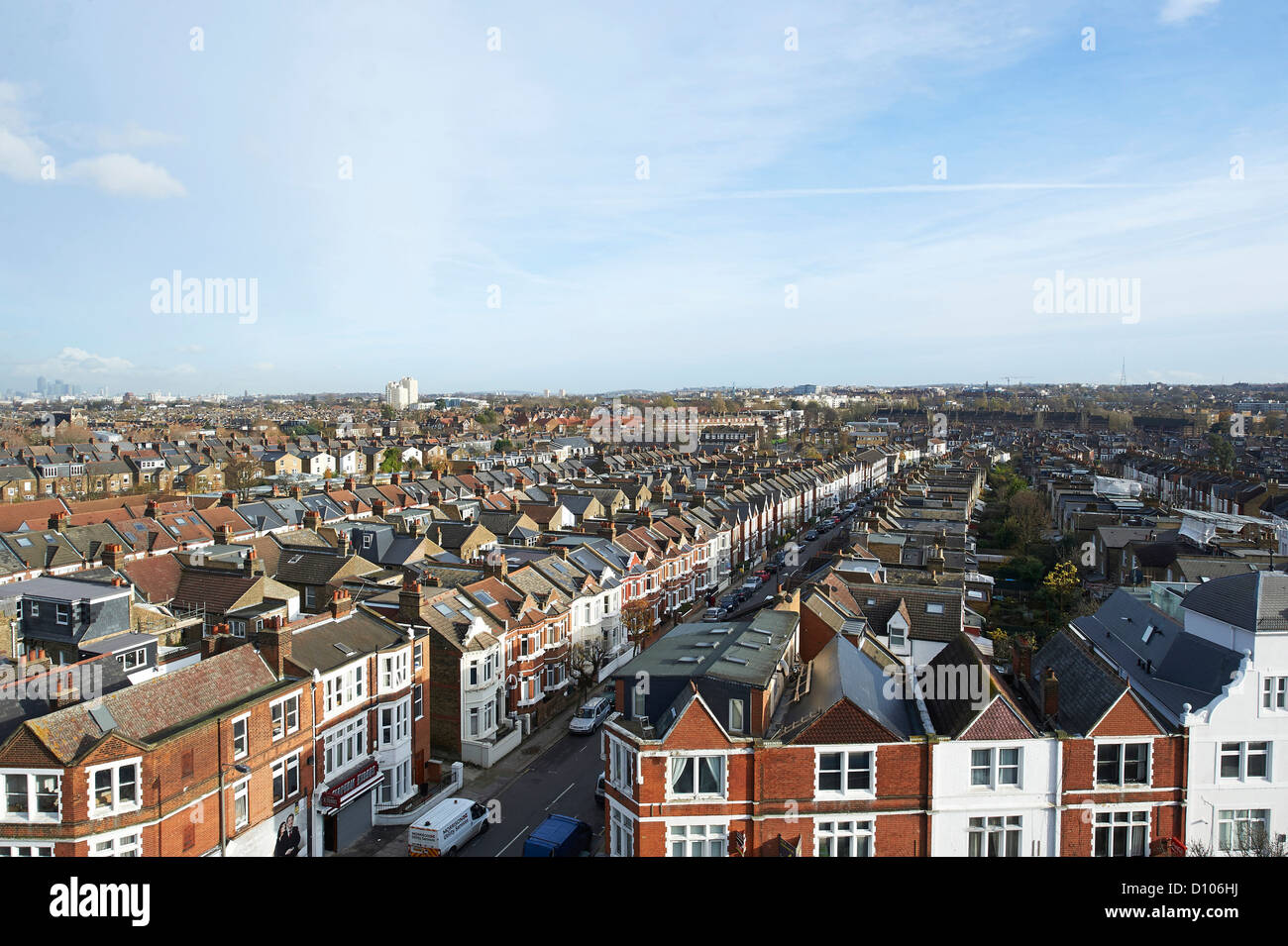 Rooftops of Balham, West London, UK - Stock Image