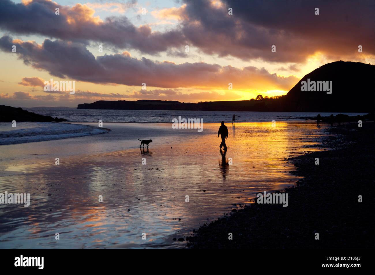 Sidmouth, Devon, England sunset reflection - Stock Image