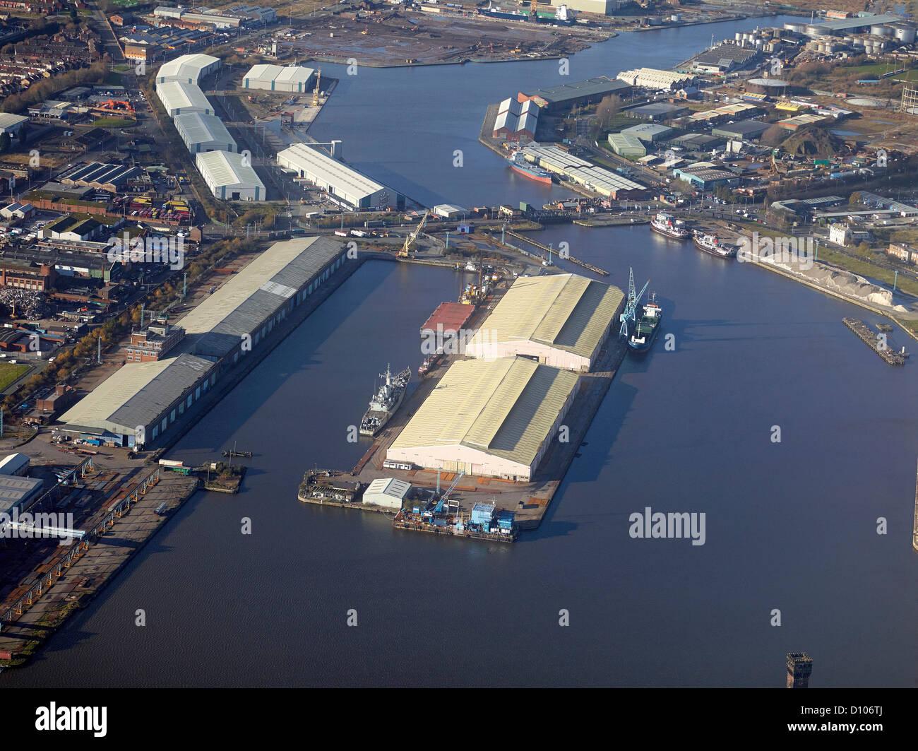 Aerial view of Birkenhead Docks, Merseyside, North West England - Stock Image