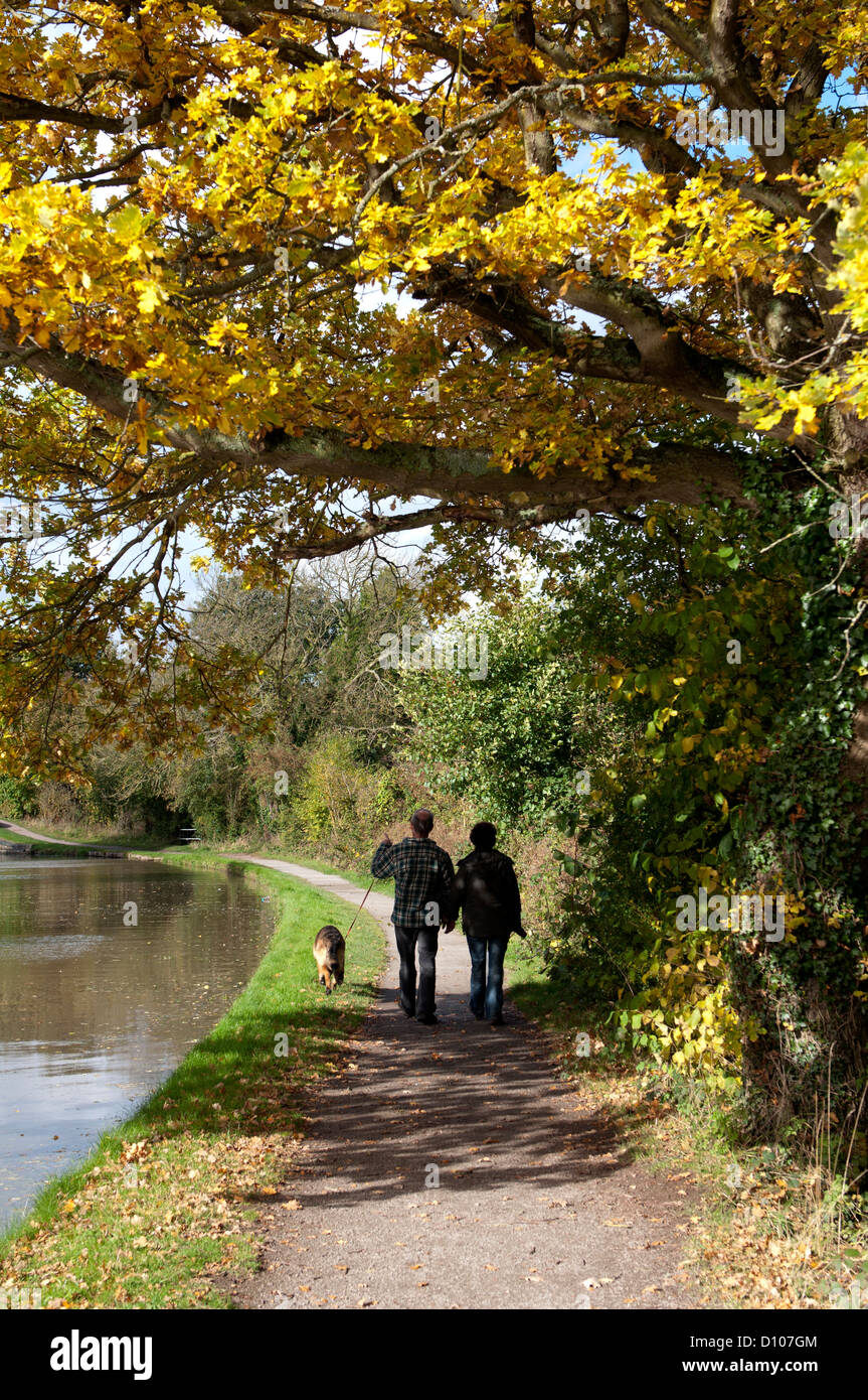 Couple walking on canal towpath in autumn - Stock Image