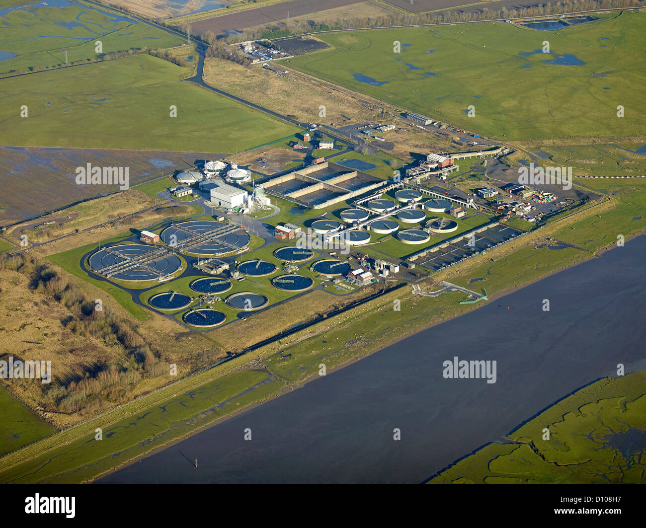 Water Treatment works on the side of the River Ribble, nr Preston North West England, UK - Stock Image