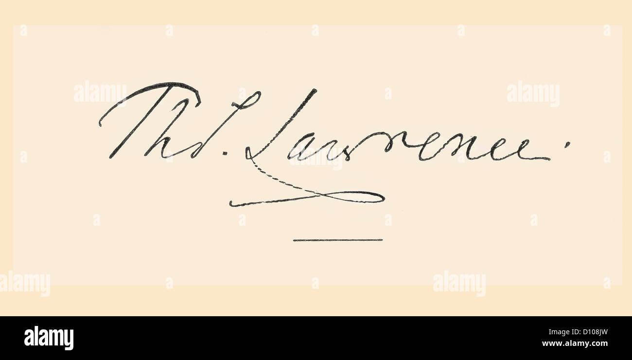 Signature of Sir Thomas Lawrence, 1769 – 1830. Leading English artist and portrait painter, president of the Royal - Stock Image