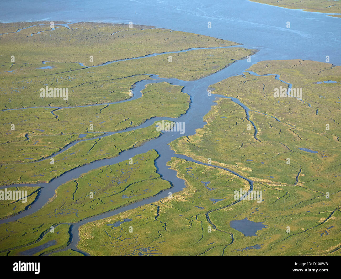 The River Ribble Estuary and Salt Marshes, from the air, west of Preston, North West England, UK - Stock Image
