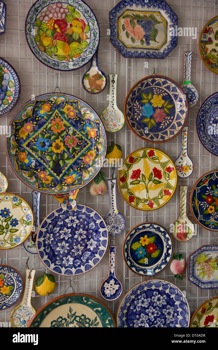 Decorative plates and Spoons on a wall
