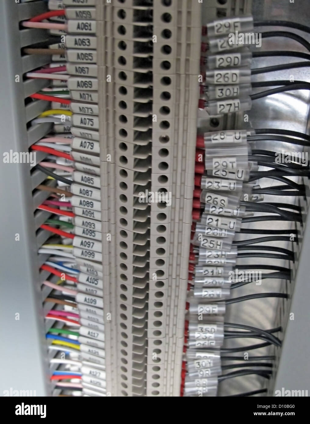Terminal Block And Electrical Cables In An Electrical
