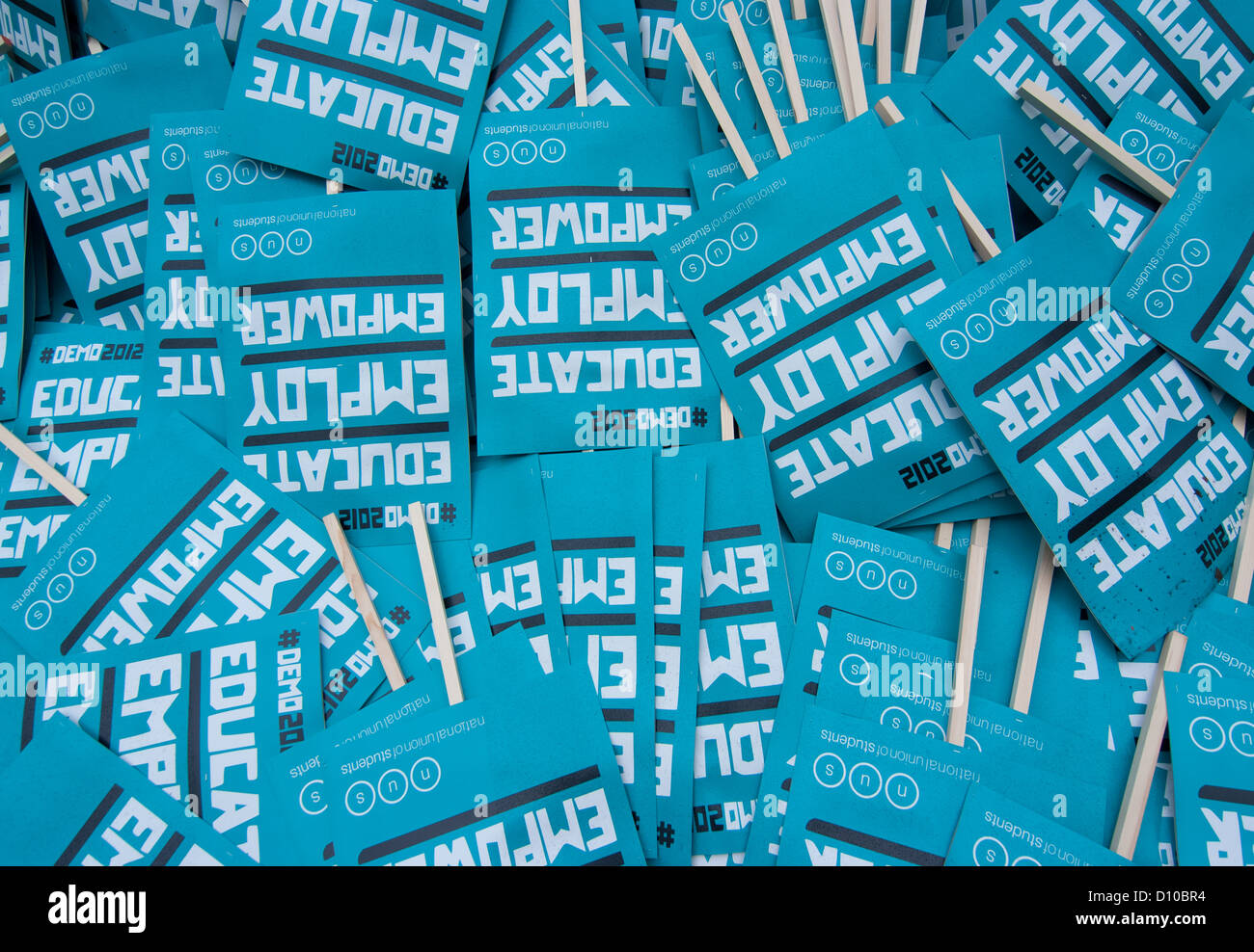 Hundreds of unused placards scatered on the floor, Temple place starting point of the Students London Demo. - Stock Image