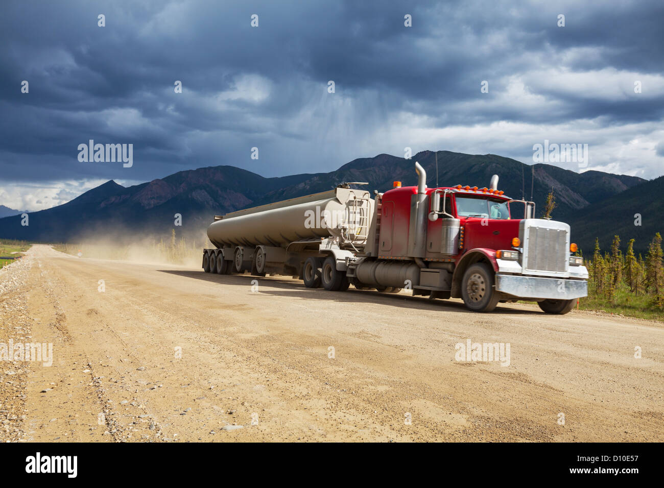 truck on Alaska,Dalton Highway - Stock Image