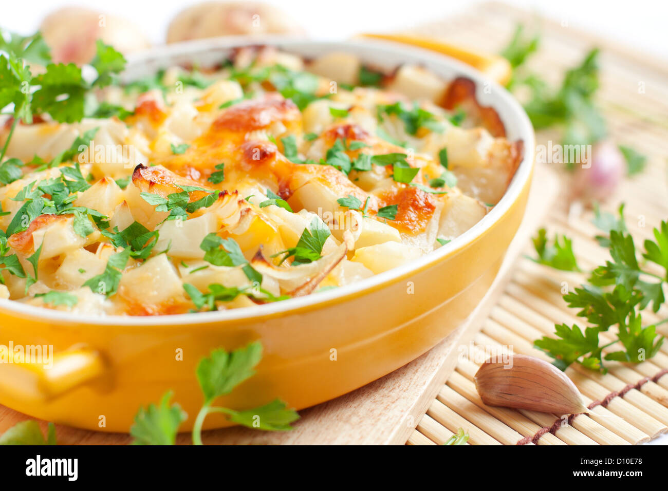 baked potato with cheese - flavored pudding, food close up - Stock Image