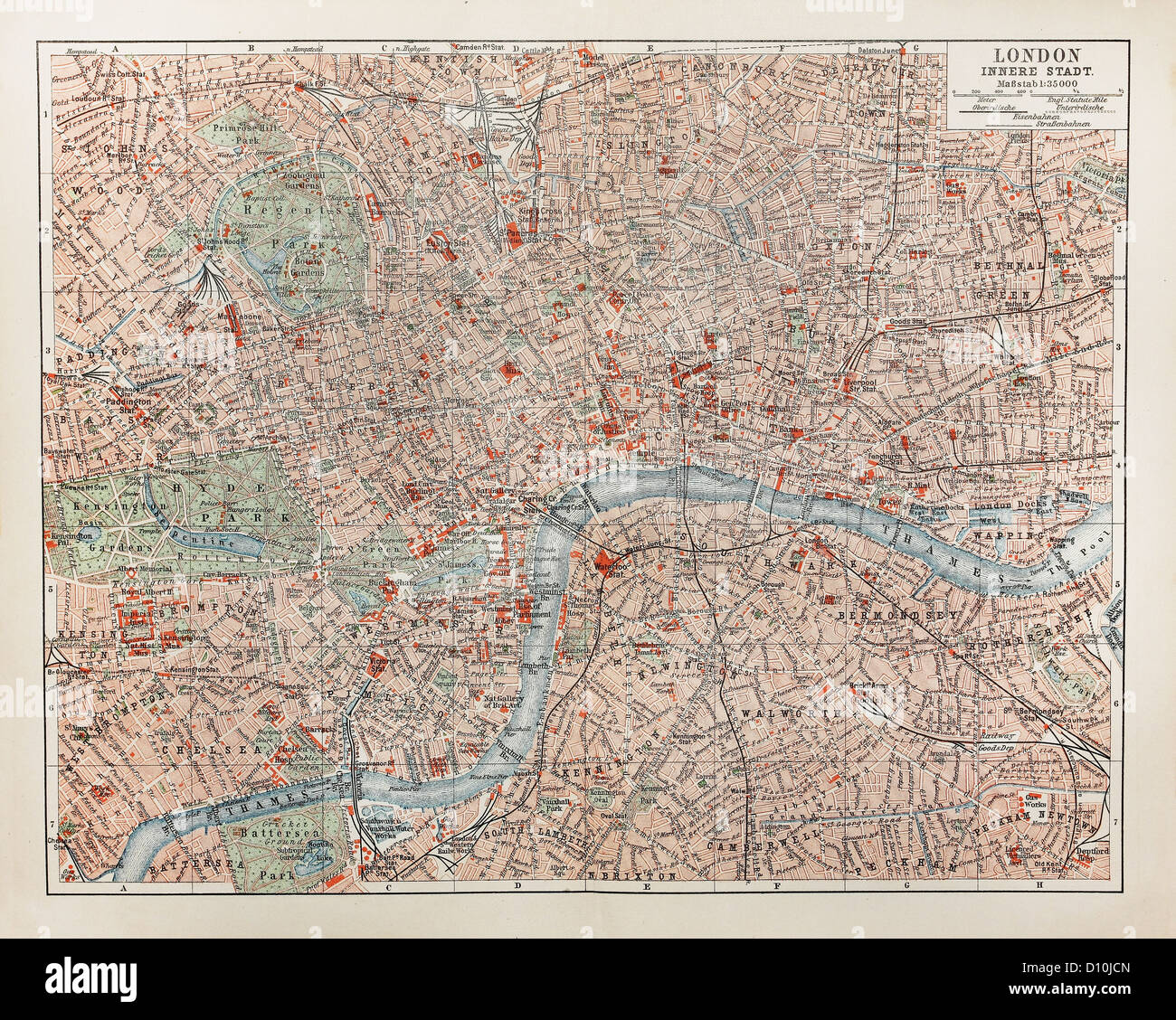 Vintage map of London at  the end of 19th century - Stock Image