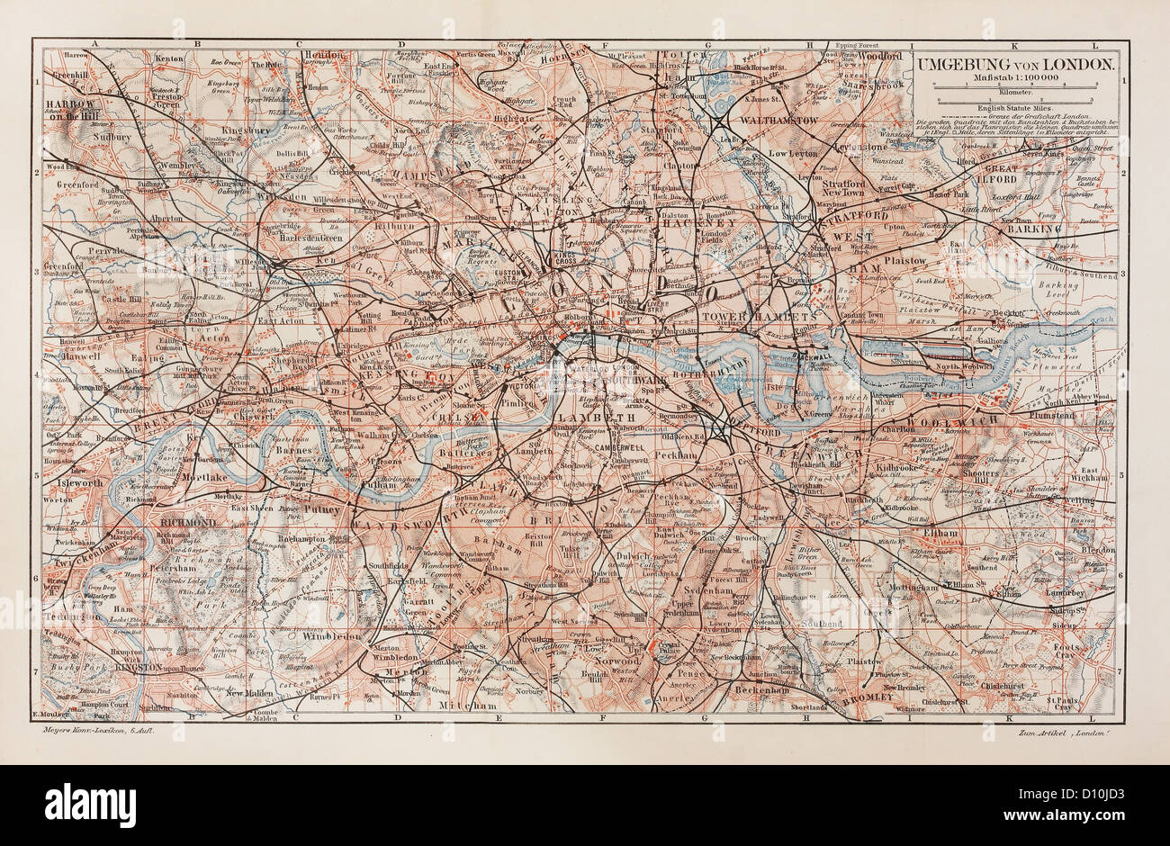 Vintage map of London and surroundings - Stock Image
