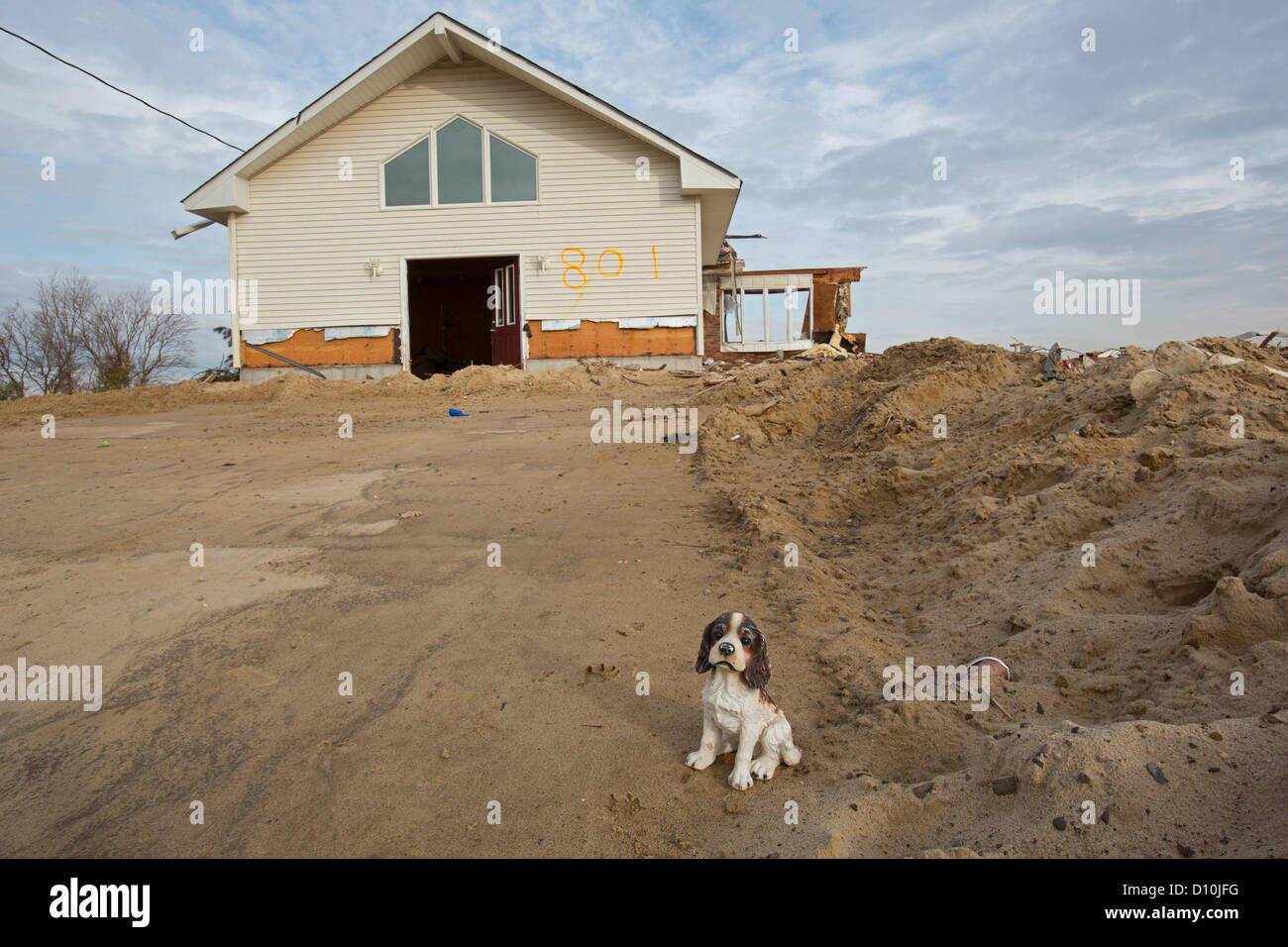 Union Beach, New Jersey - A house on the New Jersey shore severly damaged by Hurricane Sandy. - Stock Image