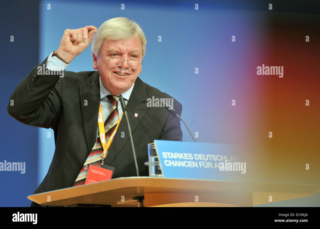 Hessen's Premier, Volker Bouffier, delivers a speech during the 25th Federal Party Convention of the Christian - Stock Image