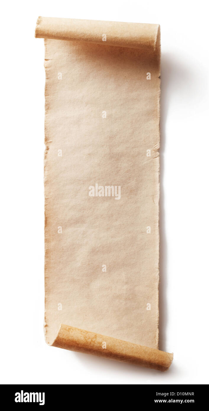 Vintage roll of parchment background isolated on white - Stock Image