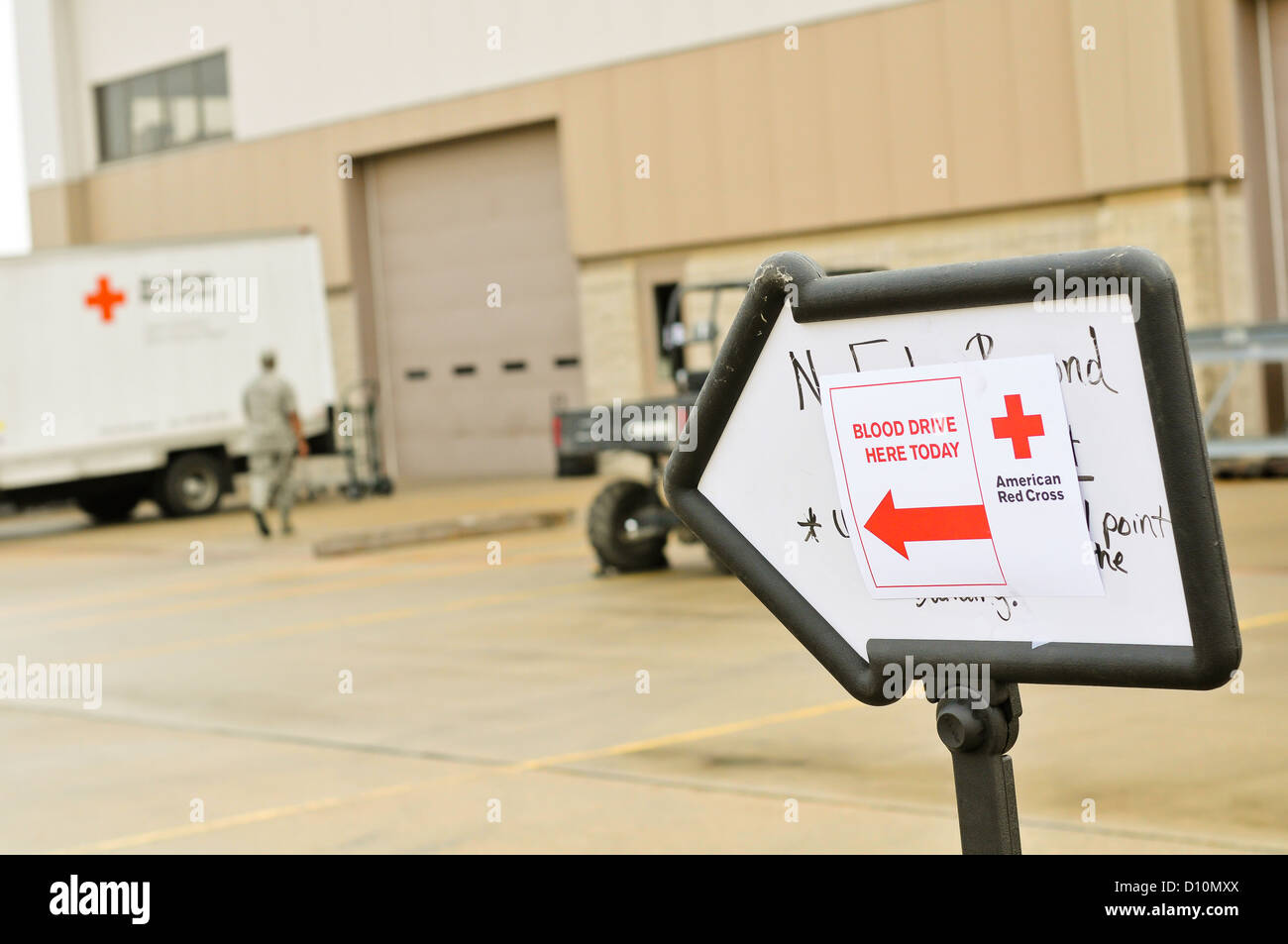 The American Red Cross conducted a blood drive at the 182nd Airlift Wing, Peoria, Ill to encourage airmen to give - Stock Image
