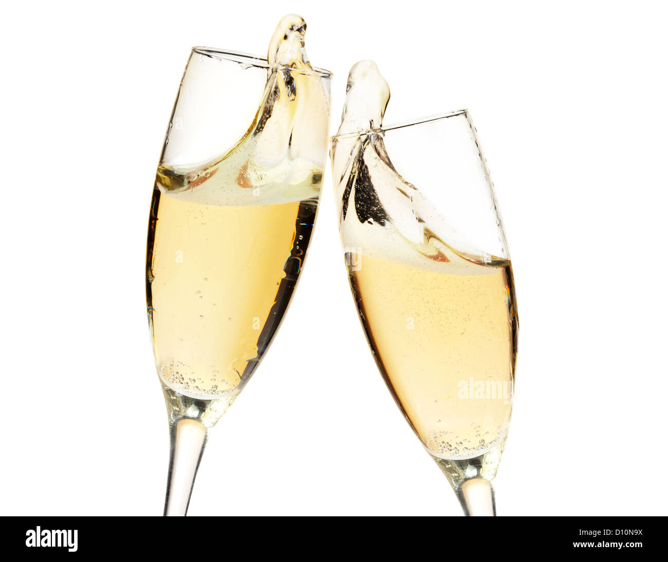 cheers two champagne glasses closeup isolated on white stock