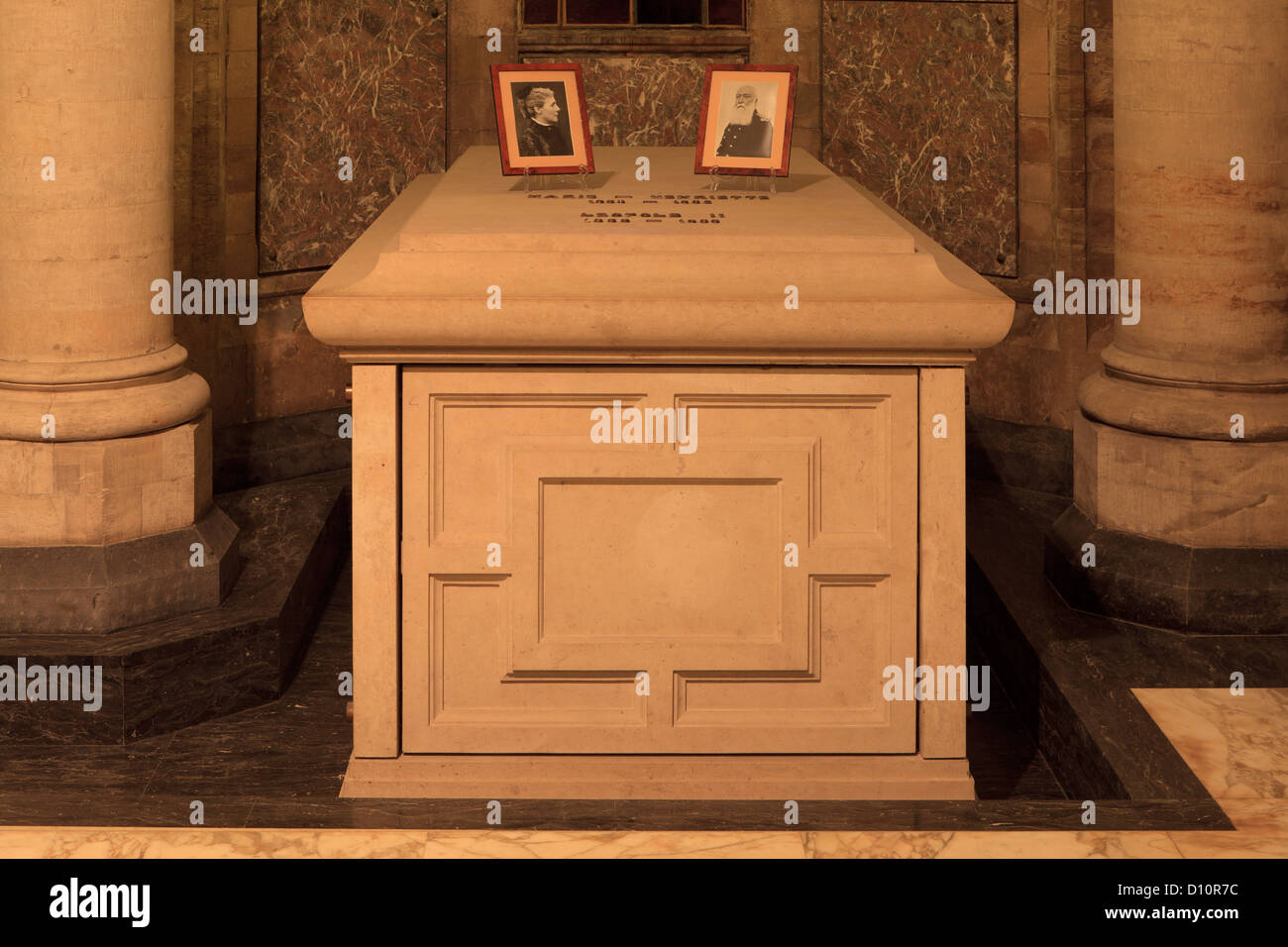 Grave of King Leopold II and Queen Marie Henriette at the Royal Crypt in Laeken, Belgium - Stock Image