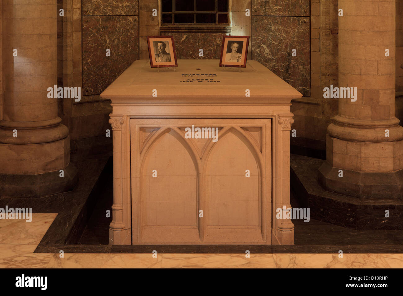 Grave of King Albert I and Queen Elisabeth at the Royal Crypt in Laeken, Belgium - Stock Image