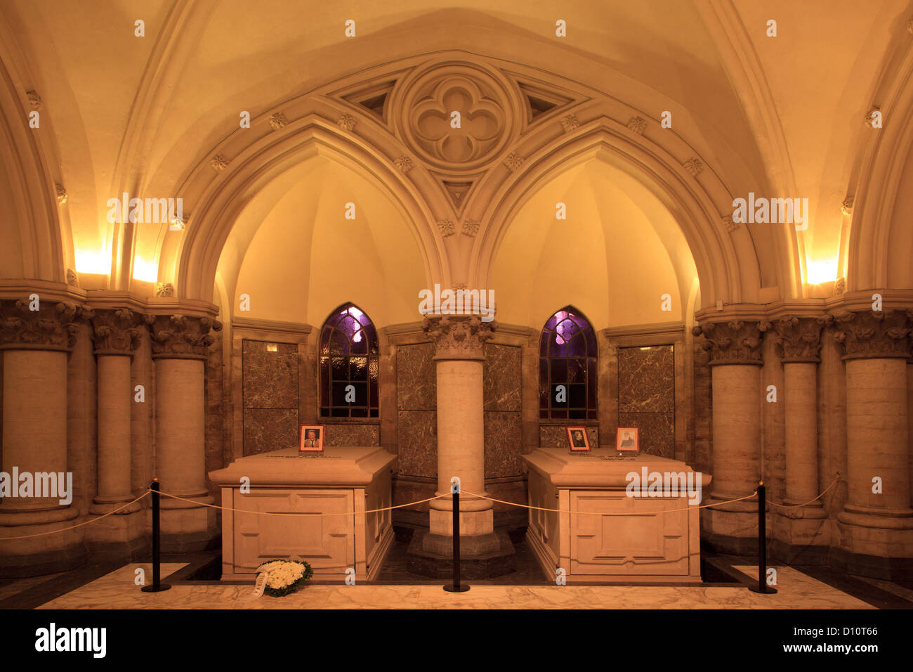 The graves of King Baudouin I & King Leopold II and Queen Marie Henriette at the Royal Crypt in Laeken, Belgium - Stock Image