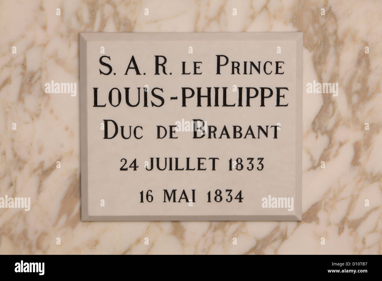 Tomb of Louis-Philippe, Crown Prince of Belgium (1833-1834), at the Royal Crypt in Laeken, BelgiumStock Photo