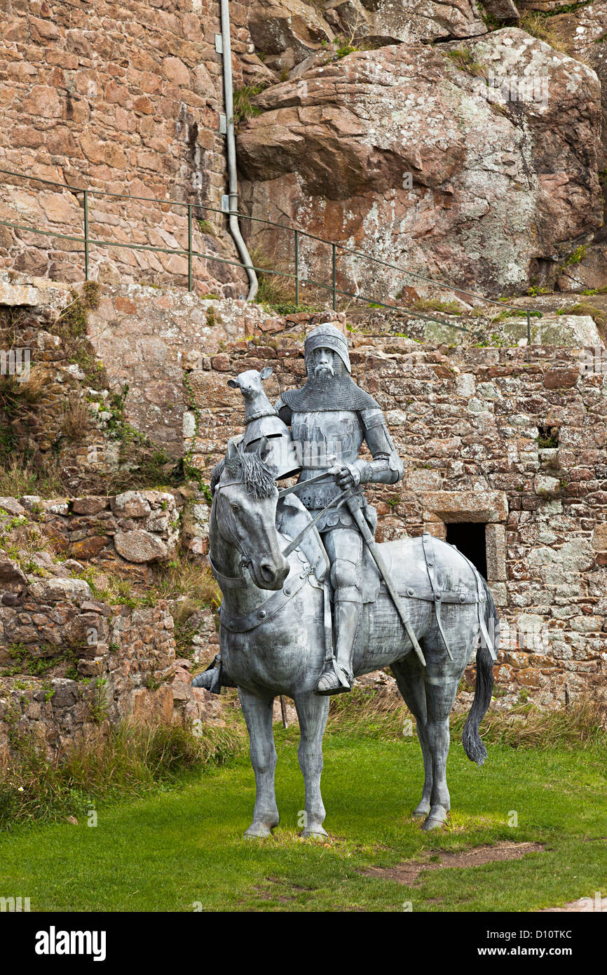 Mounted knight statue in metal, Mont Orgueil Castle, Gorey, Jersey, Channel Islands, UK - Stock Image