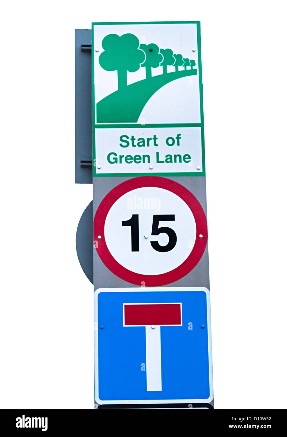Road sign start of green lane with 15 mph speed limit, Jersey, Channel Islands, UK - Stock Image