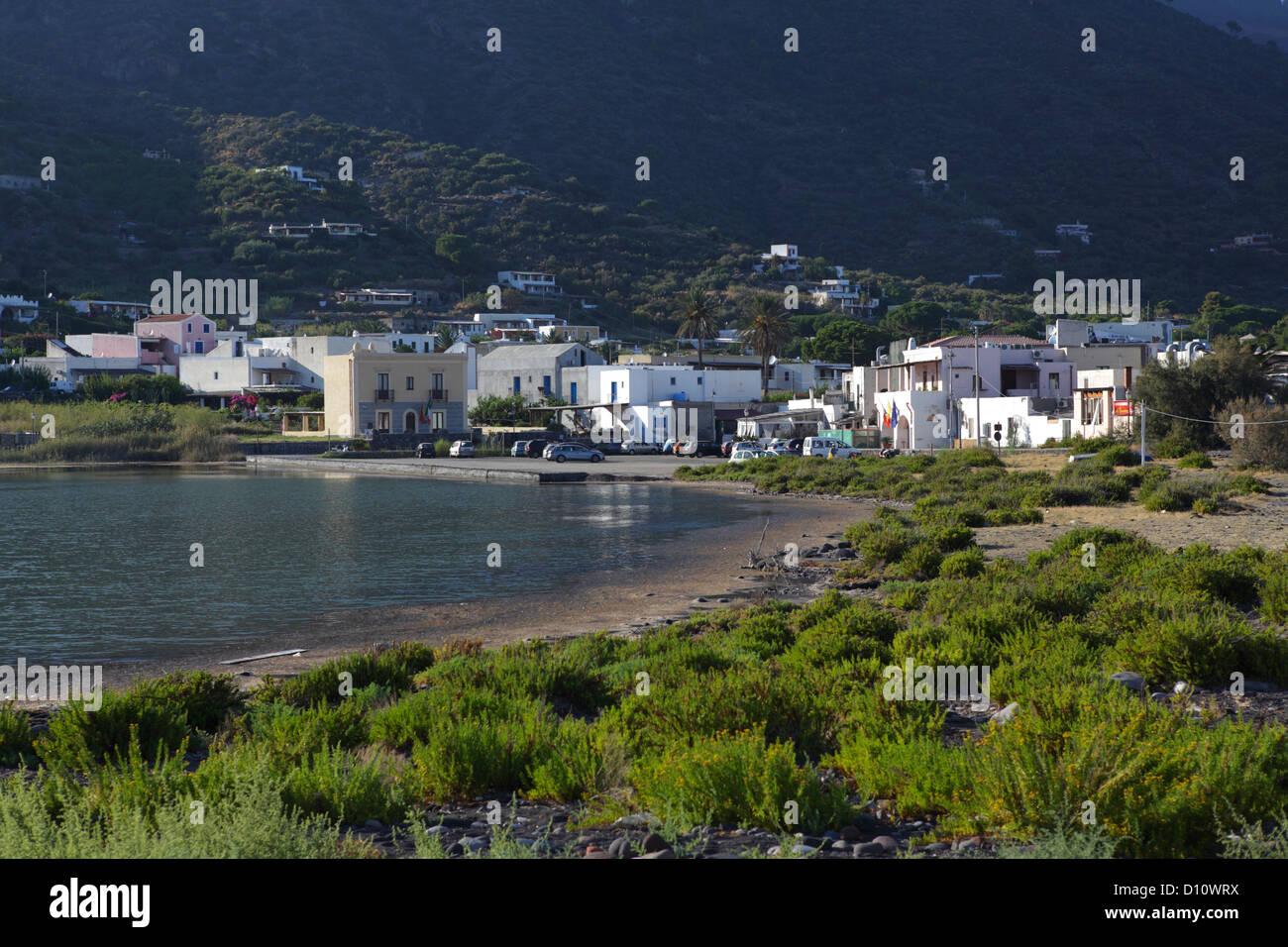 Lingua Village in Salina Island, Aeolian Islands, Sicily, Italy - Stock Image