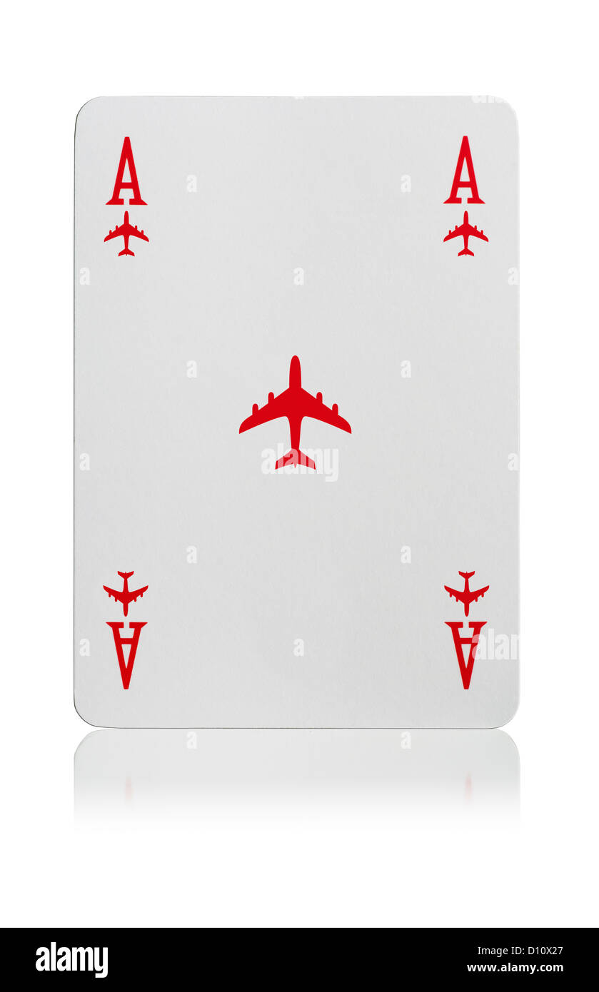 Ace of Airplane playing card - Stock Image