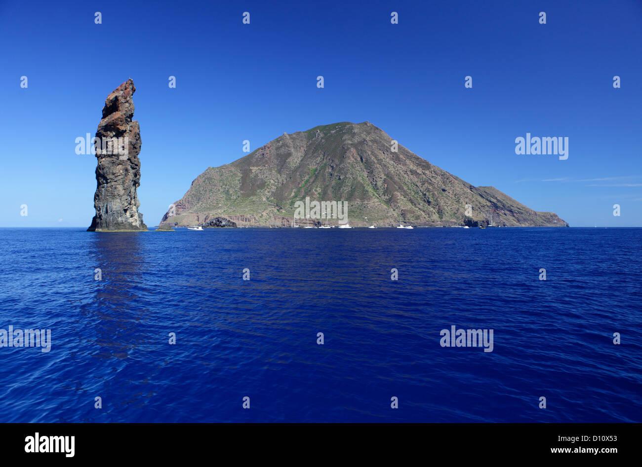 "The rock called ""La Canna"" at Filicudi island, Aeolian islands, Sicily, Italy Stock Photo"