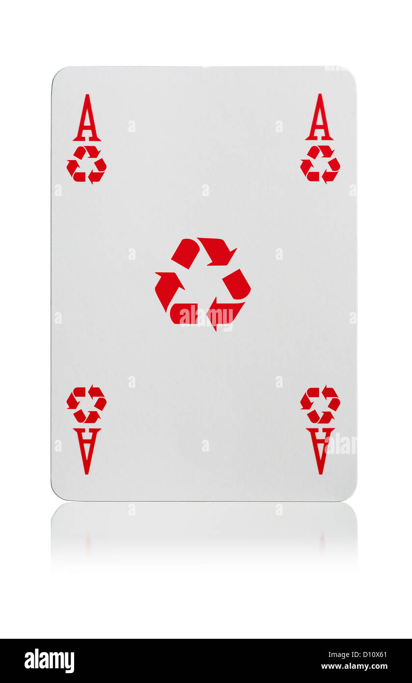 Ace of Recycle playing card - Stock Image