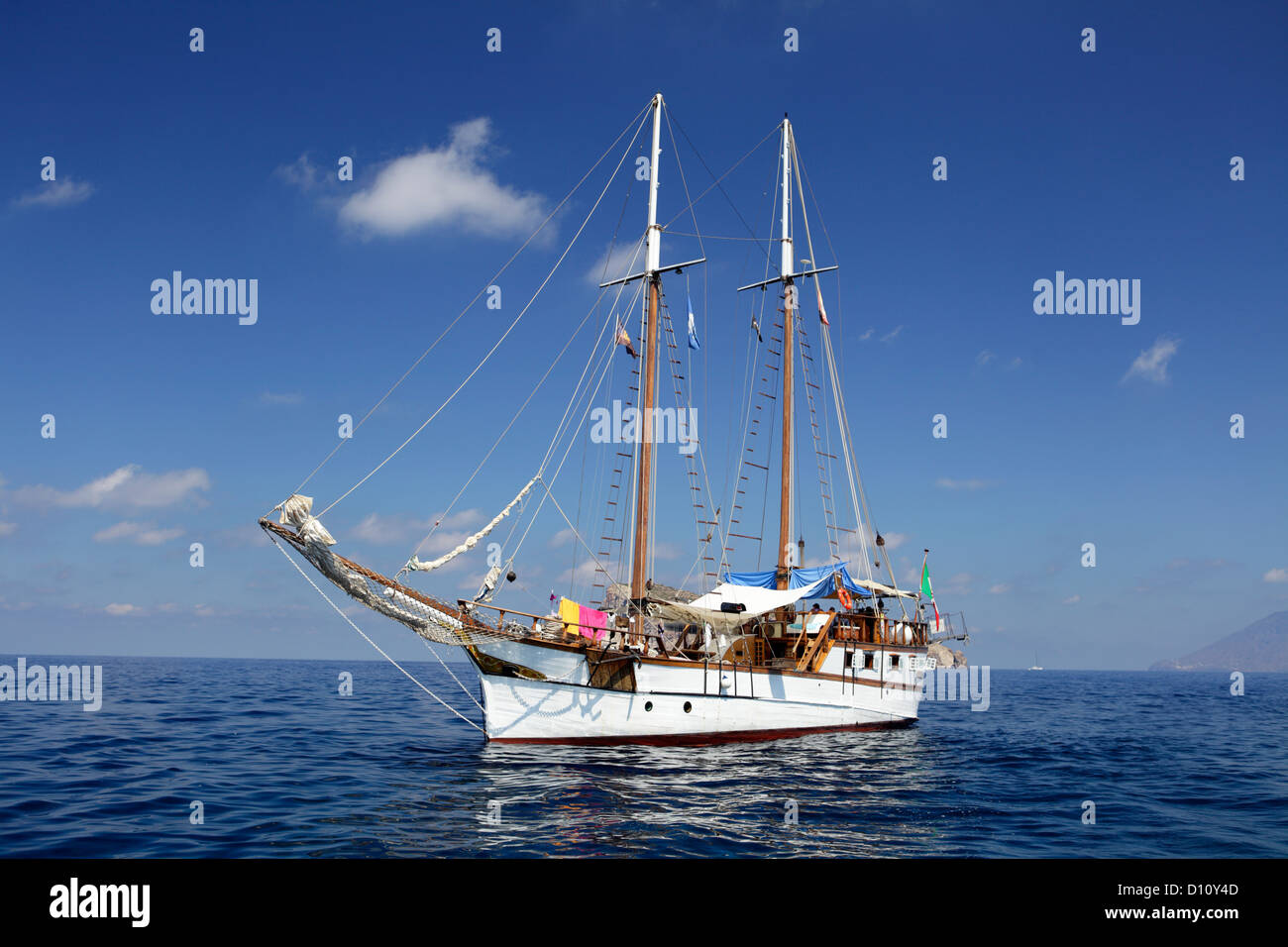 sailing ship at Aeolian Islands, Sicily, Italy - Stock Image