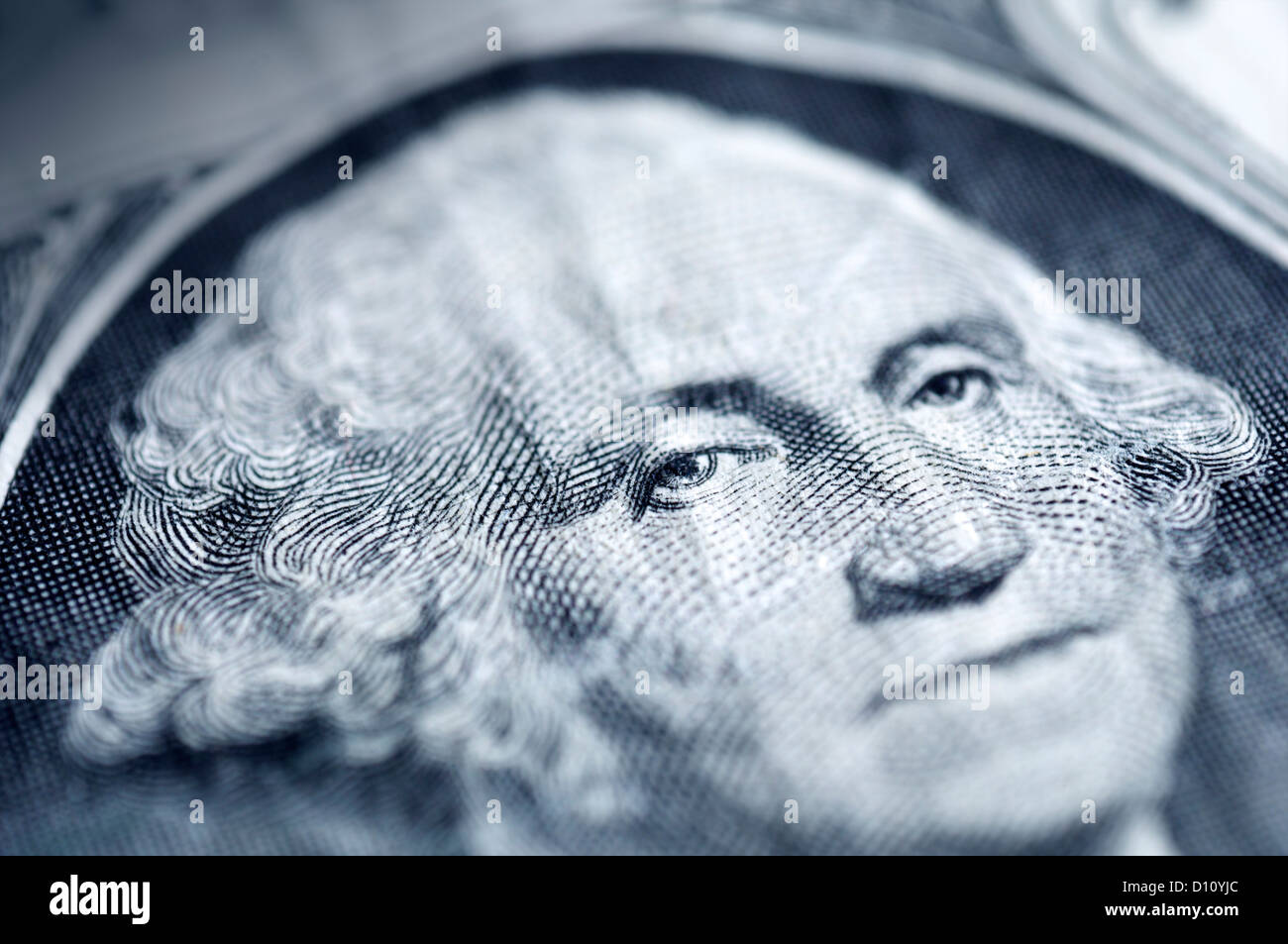 Detail of George Washington portrait on a US dollar bill - Stock Image