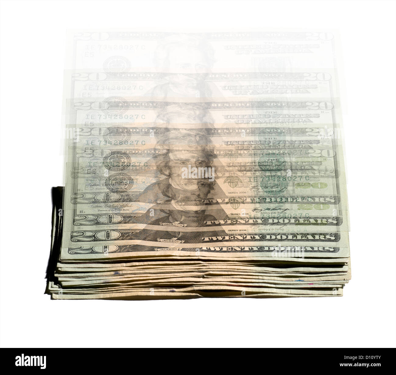 Stack of falling money in motion - Stock Image