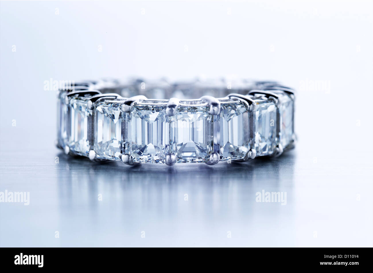 Diamond ring with baguettes - Stock Image