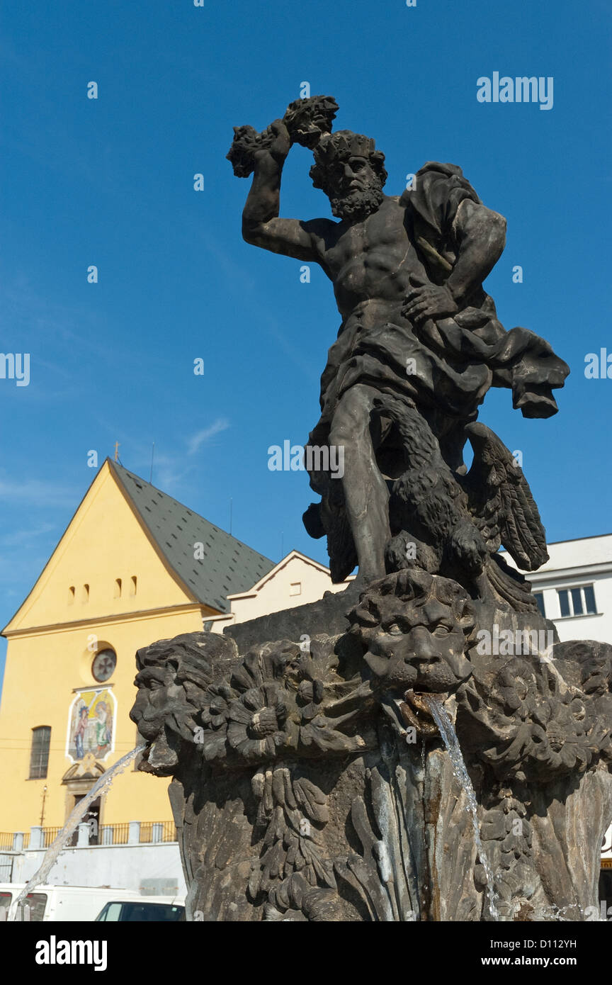 Elk188-3761v Czech Republic, Olomouc, Dolni namesti, Jupiter Fountain, 1735, with Church of the Annunciation - Stock Image
