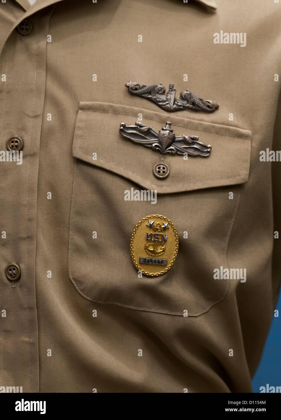 Navy officer medals on Service Dress Khaki Uniform - Stock Image