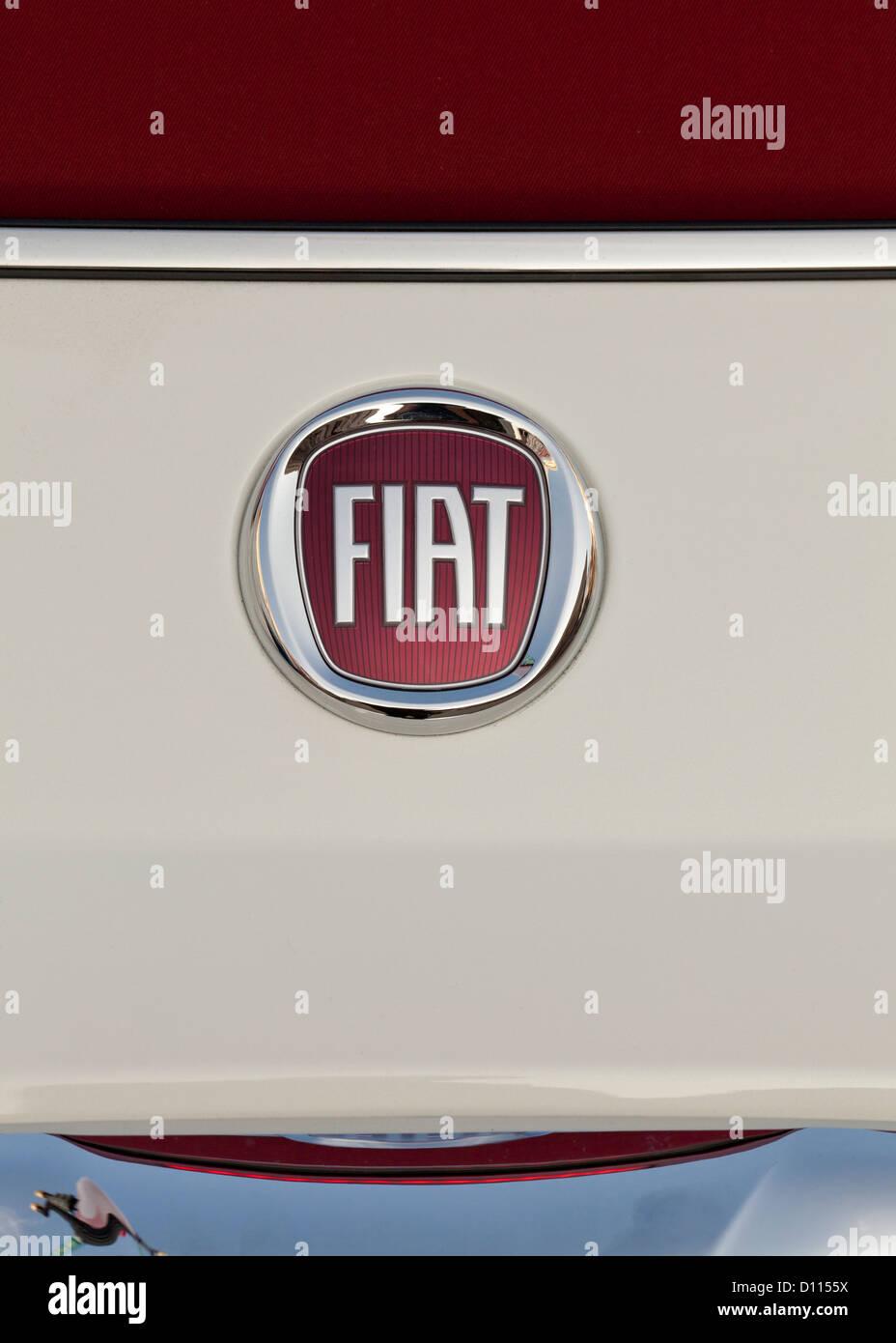 Fiat logo on the 500 Abarth - Stock Image