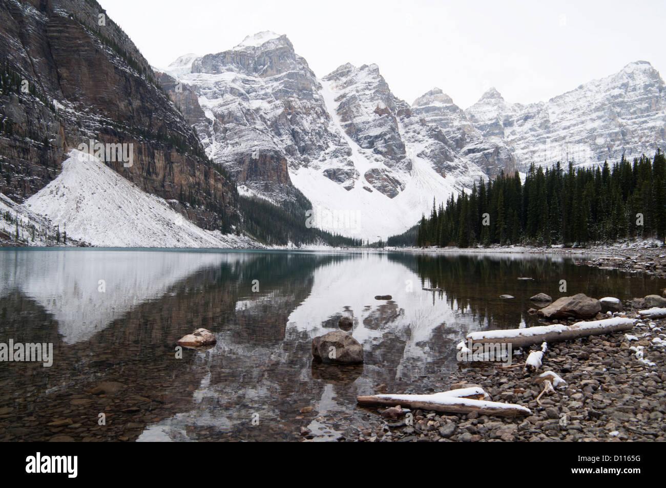 Winter Moraine Lake Banff National Park Canada Stock Photo