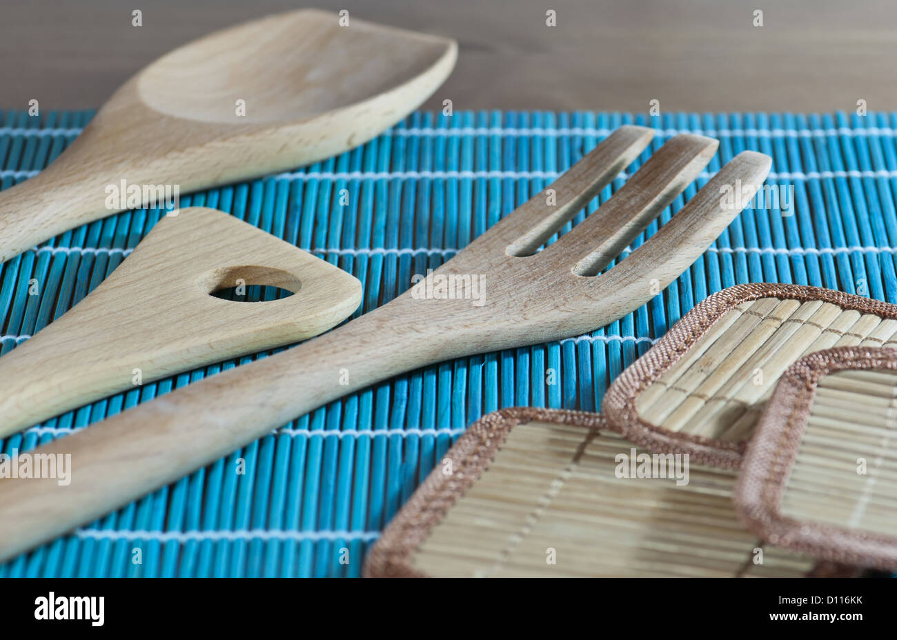 Kitchen Utensils Of The Wood Stock Photos & Kitchen Utensils Of The ...