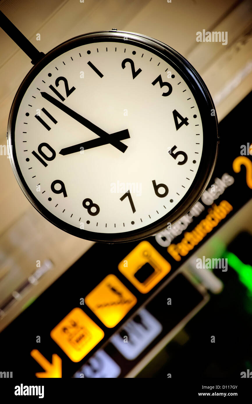 Airport clock, in Valencia - Stock Image