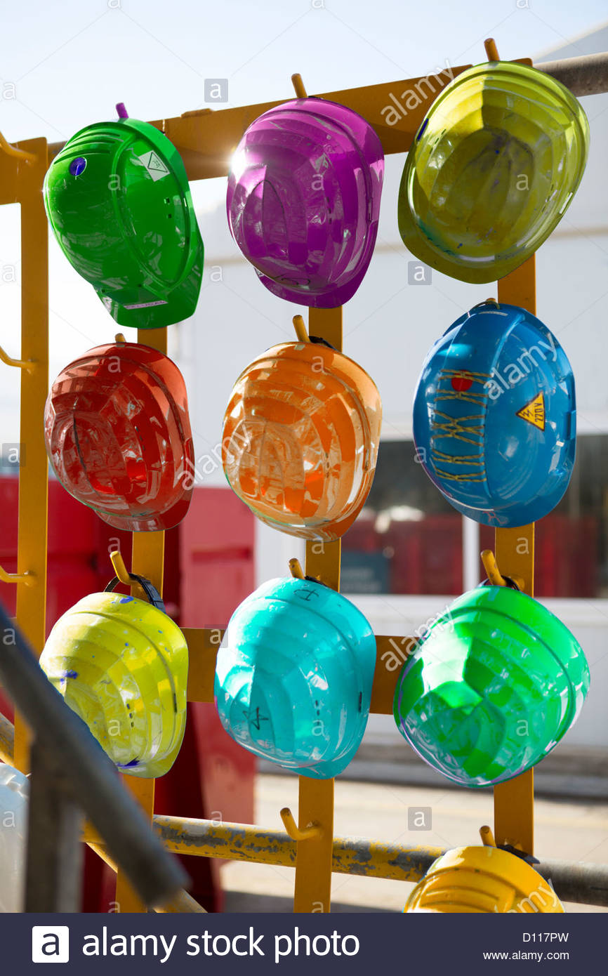 Multicoloured Hard Hats - Stock Image