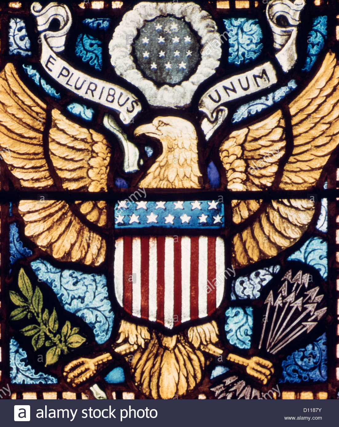 Stained Glass Window Of American Eagle Symbol With The Words E Stock