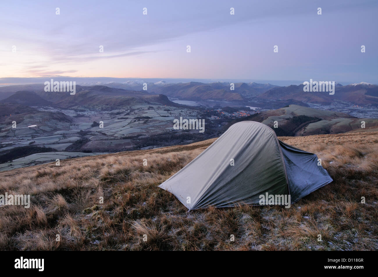 Wild camping on Blease Fell on Blencathra in winter in the English Lake District - Stock Image