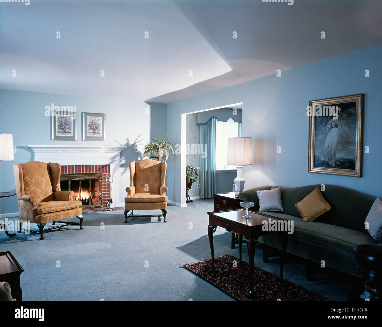 1970s Living Room Blue Wall To Wall Carpeting English Traditional Stock Photo Alamy
