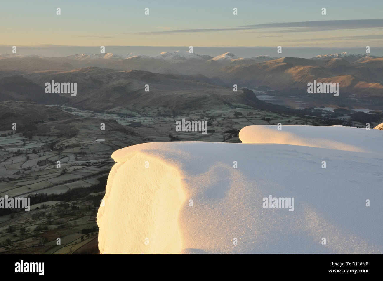 Cornice on the edge of Blencathra in winter in the English Lake District - Stock Image
