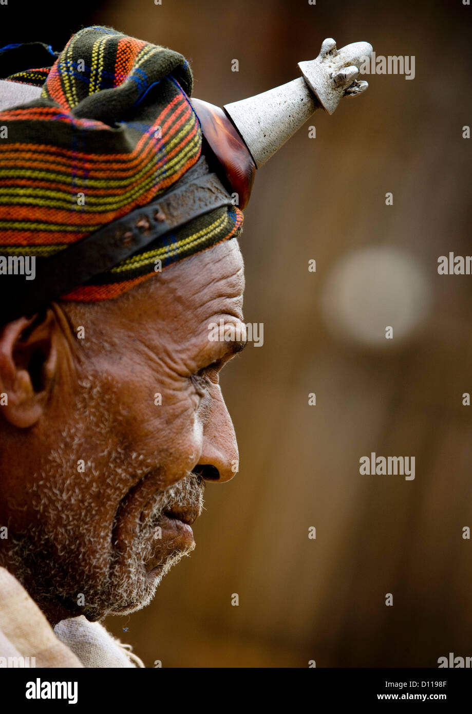 Profile Portrait Of A Borana Tribe Chief Wearing The Kalasha On His Forehead, Yabello, Omo Valley, Ethiopia - Stock Image