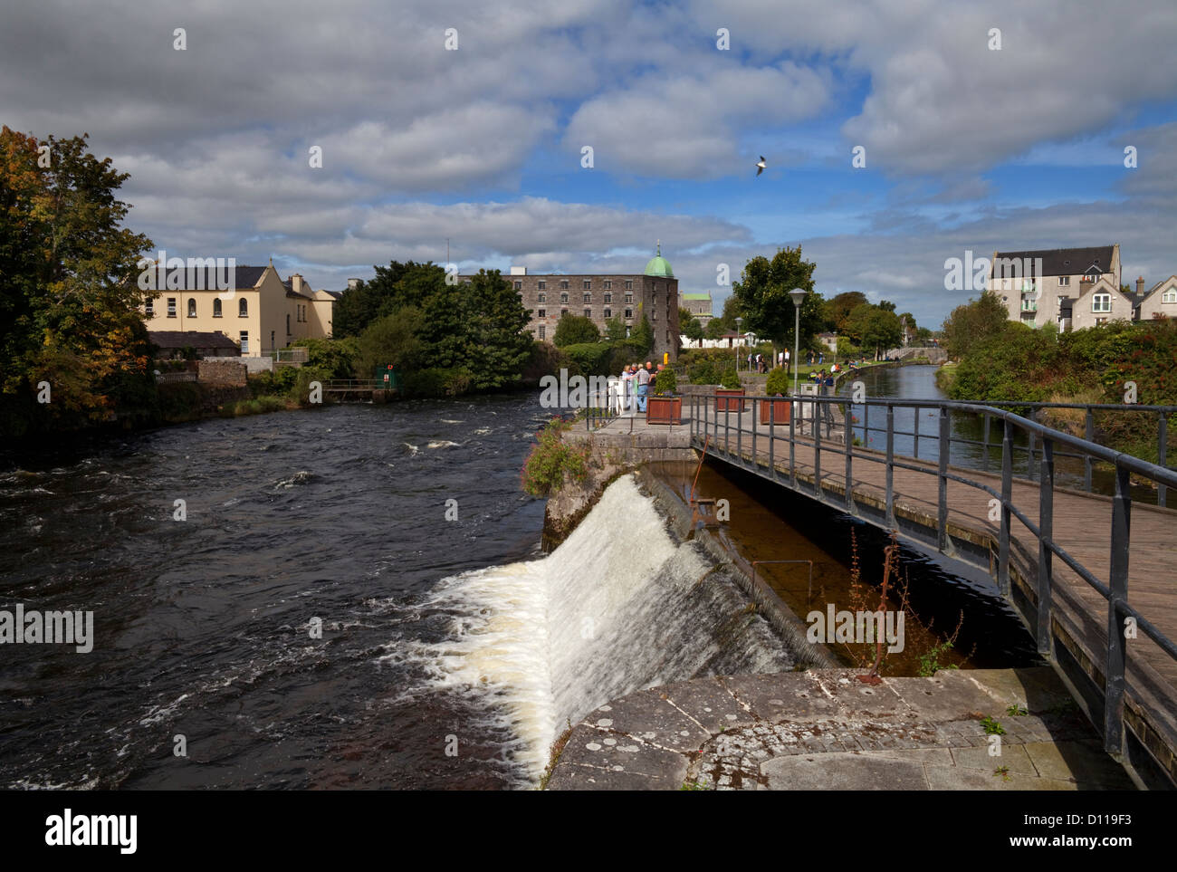 Salmon Leap, Weir on the Corrib Walk beside the River Corrib, Galway City, Ireland - Stock Image